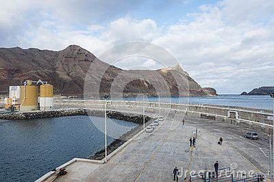 Cement factory in the port on the island Porto Santo on Atlantic Ocean, near by the Madeira Island , Portugal.