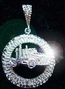 Heavy Real Sterling Silver 925 Truck Driver Pendant Charm Jewelry motor vehicle