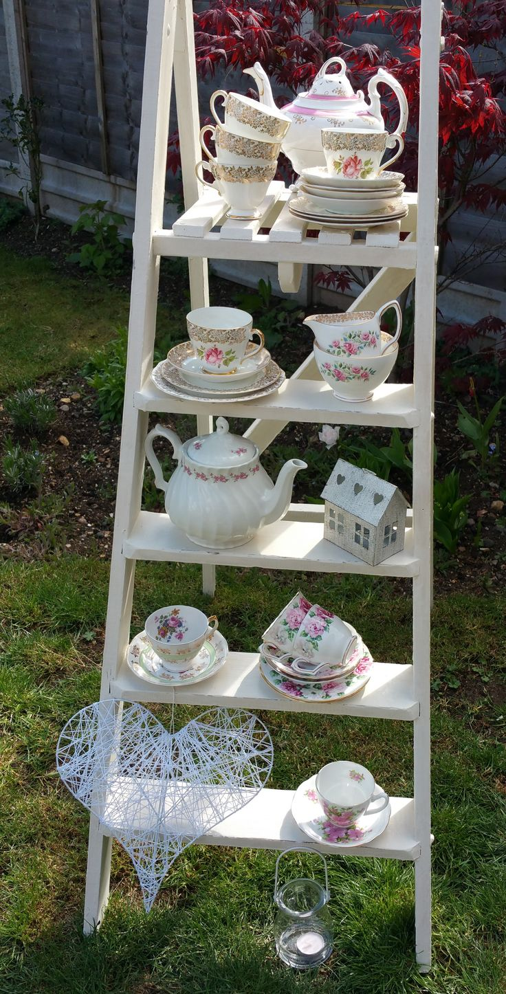 Vintage Tea Set Hire - Step ladders painted with Annie Sloan, just the thing for displaying my vintage china. Vintage china and stepladders available to hire.