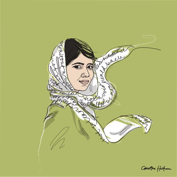 "Wall of Femme #2. Malala Yousafzai 1997- ""I raise up my voice - not so I can shout but so that those without a voice can be heard… we cannot succeed when half of us are held back"".  -Wall of Femme is a series of portraits of five strong and inspiring women by Illustrator Christina Heitmann. See more images and read the full stories behind each of these amazing women on https://www.behance.net/gallery/Wall-of-Femme/15382065 #quote #rolemodel #brave #women #illustration #inspiration…"