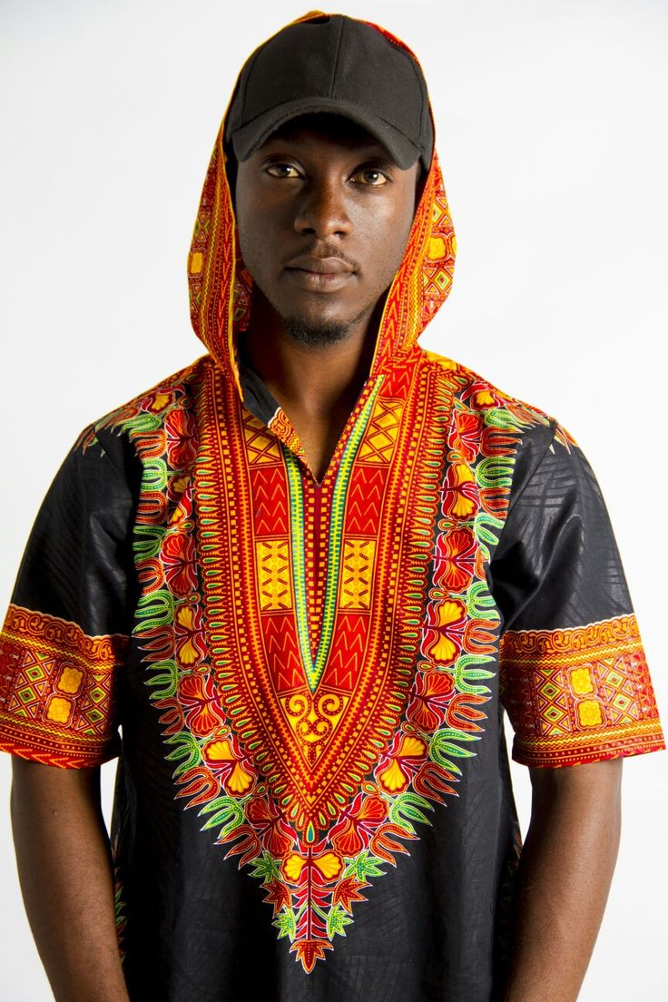 African men fashion Dashiki. Short hoody. @Jo's couture #African #Africanfashion