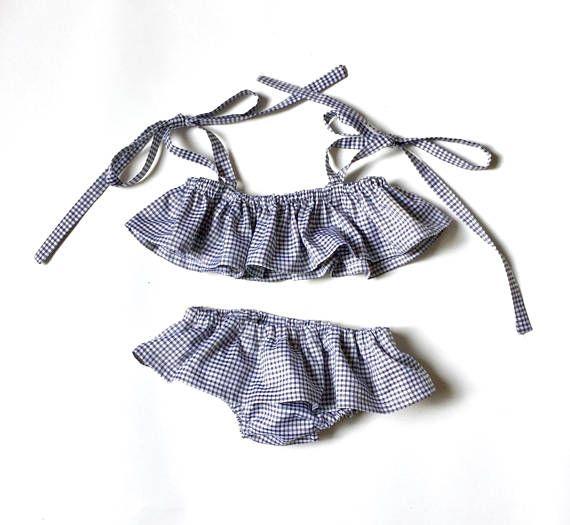 1bde13283c17 Costume da bagno per bambina - bikini cotone vicky bianco e nero bimba -  due pezzi mare - costumino per bimba - costume da mare per bambina