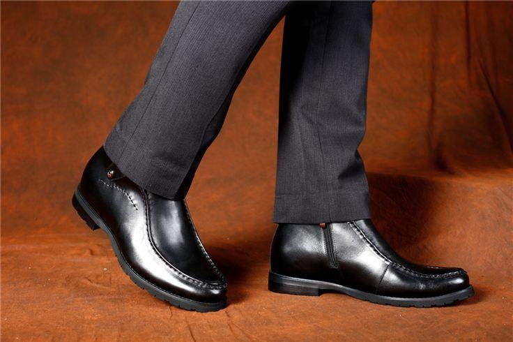 black leather taller boots for men
