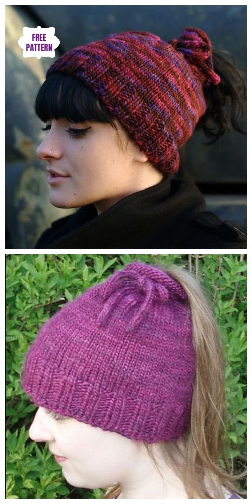04c1c571c Easy Knit Messy Bun Hat Free Knitting Patterns