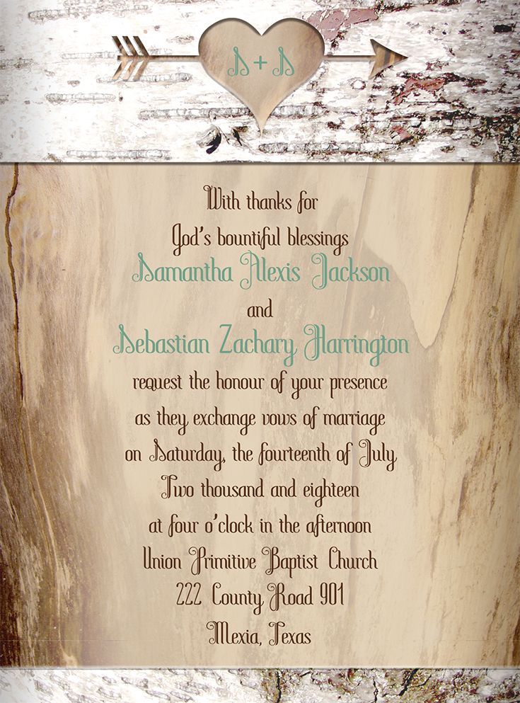 Aged Birch Pee Invitation