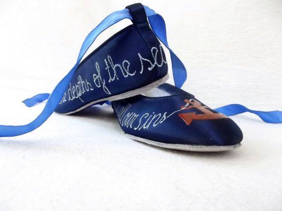 Морская обувь роспись туфли морских балерина по norakaren