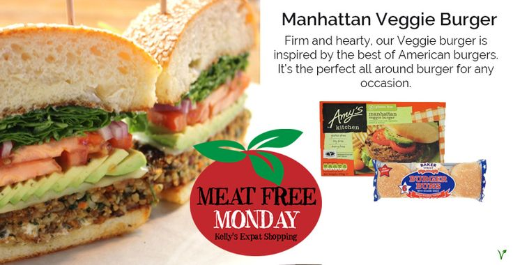 "Amy's Kitchen Manhattan Veggie Burger <><><><> ""Firm and hearty, our Veggie burger is inspired by the best of American burgers. It's the perfect all around burger for any occasion. Made with vegetables, walnuts and quinoa (an ancient protein-rich grain), this burger is free from dairy, gluten and soy, but full of flavour."" <><><><> Find more vegetarian and vegan products at Kelly's!"