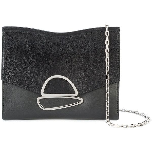 Proenza Schouler Small Curl Chain Clutch (2 685 PLN) ❤ liked on Polyvore featuring bags, handbags, clutches, black, chain purse, proenza schouler pochette, chain handbags, proenza schouler and proenza schouler handbags