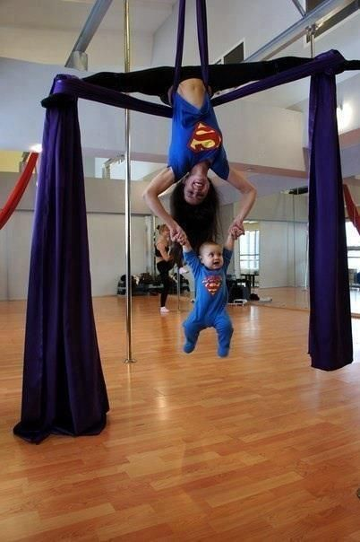 Supermom and superbaby are doing antigravity yoga - Yoga Inspiration