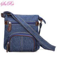 Women Retro Small Blue Denim Satchels Shoulder Messenger Bags Crossbody Bag