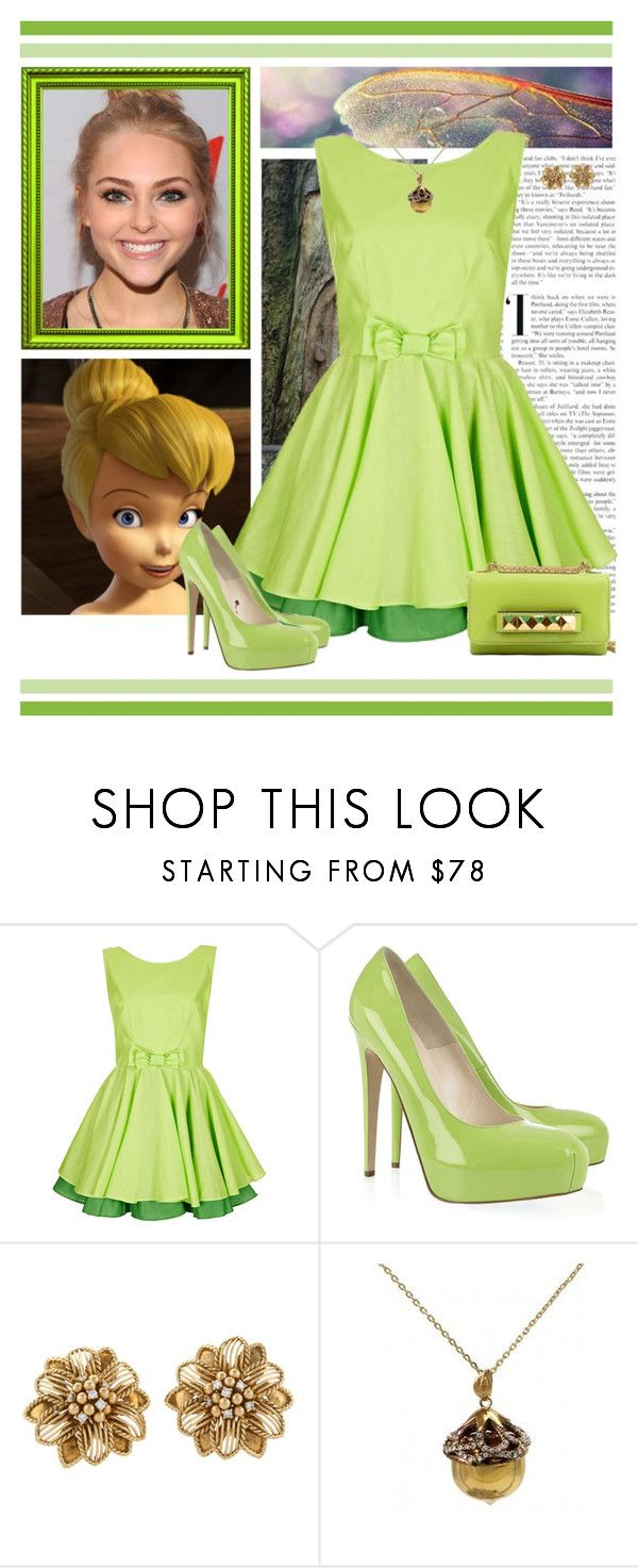 """""""Tinkerbell Dress Style"""" by preppyandgirlie2001 ❤ liked on Polyvore featuring Topshop, Brian Atwood, Sabbadini, Disney Couture and Valentino"""