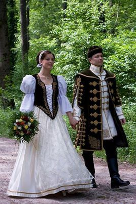Magyar couple in traditional wedding outfit