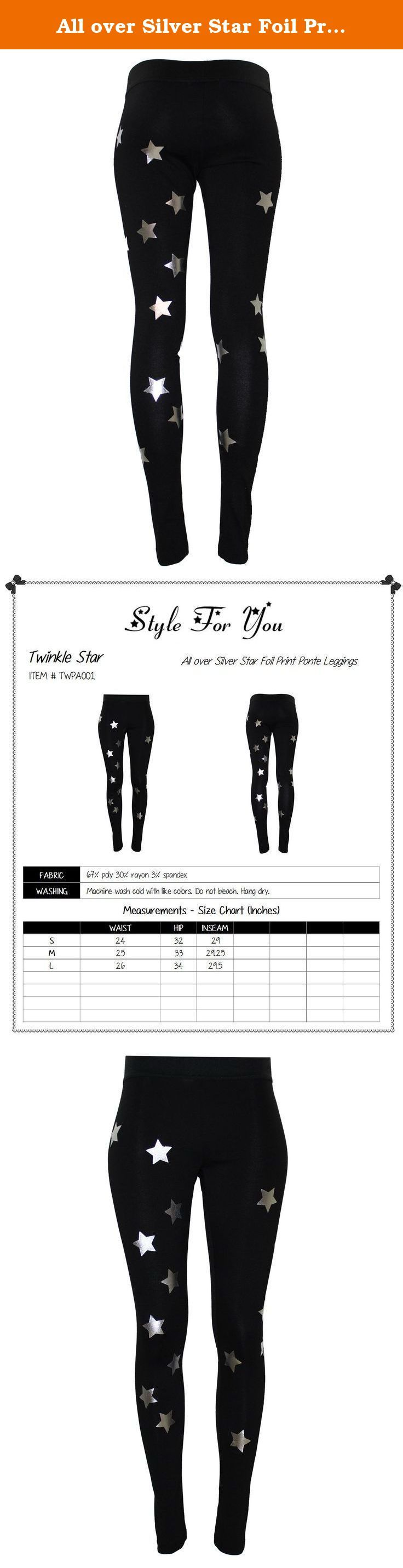 All over Silver Star Foil Print Ponte Leggings Black M Size. ★ Twinkle Star is a brand where we have collections of lovely stars! It's all about stars carrying wide range of categories such as tops, dresses, sweaters, cardigans, a must have one-of-a-kind items. Stay on top of the hottest styles and shop Style For You to be your own style and show your personality! Please also check out our brand Ladies' Code . .