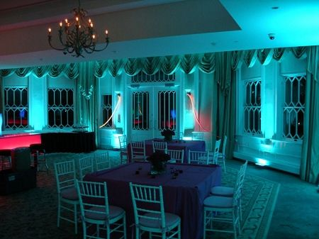 Beautiful Teal Uplighting Example That Can Be Great For A Wedding Reception