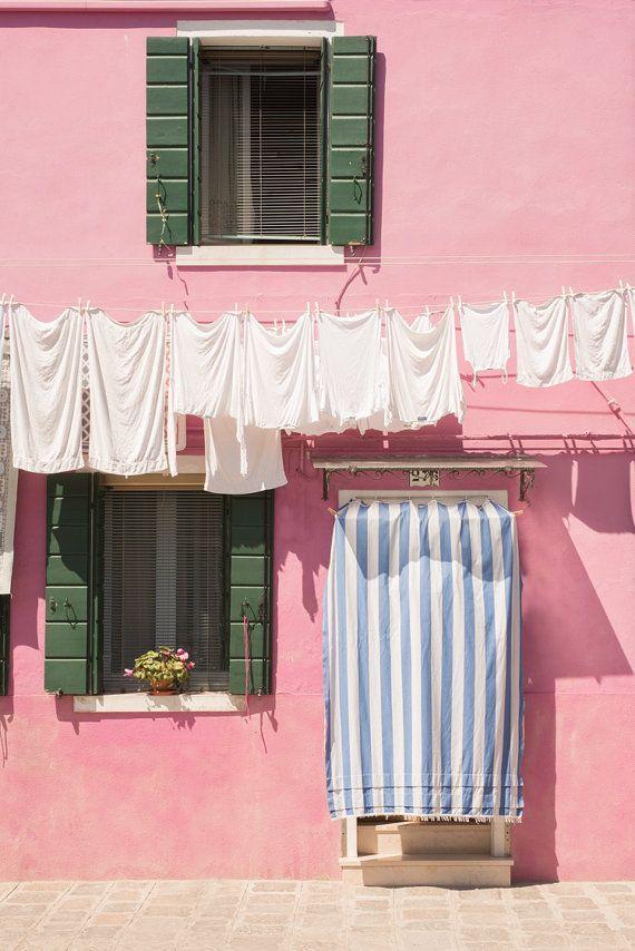 Venice Photography - Pink House with Laundry, Burano, Venice, Italy, Wall Decor, Travel Photography, Home Decor