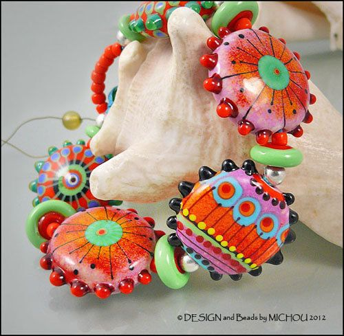 """RESERVED for """" C """" MICHOU - Lampwork Beads - Knotted, handmade glass bead…"""