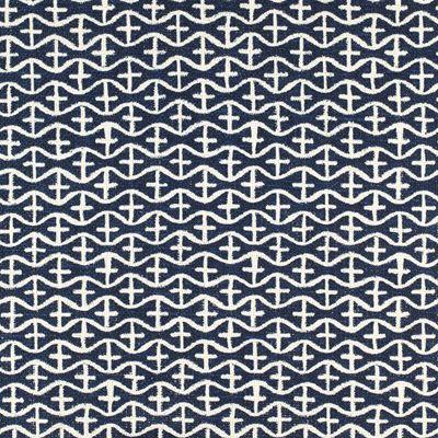 Multi Upholstery Drapery Fabric - Ivy Ld Navy Abstract Geometric Fabric Pattern