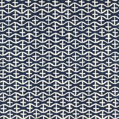 Multi Upholstery Drapery Fabric - Ivy Ld Navy Abstract Geometric Fabric Pattern