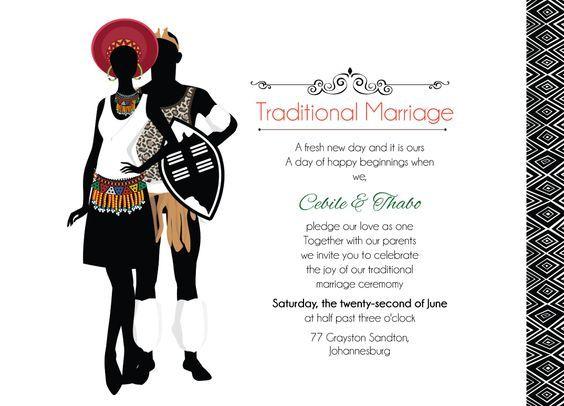 Zulu Wedding: Downloadable South African Zulu Traditional wedding invitation Card