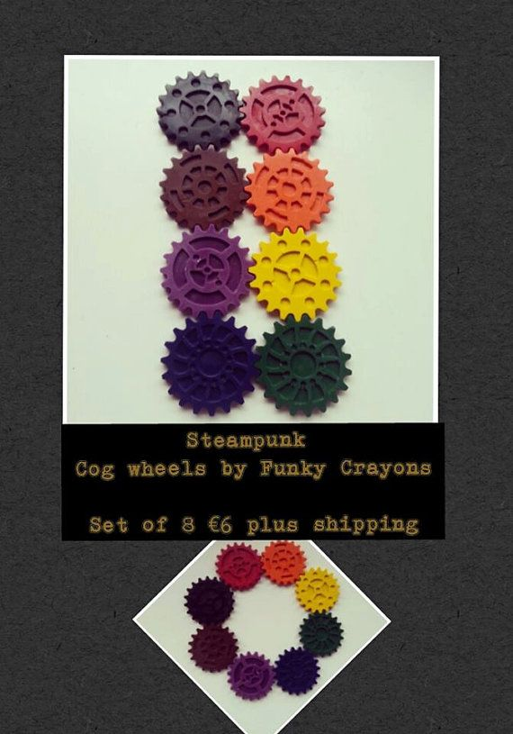 Non-toxic wax crayons shaped into cog wheels. Ideal for any fans of engineering or steampunk design. Listing is for a set of 8. If you have any specific colour requests please detail in your comments. http://www.marketdirect.ie/steampunk-cog-wheel-crayons