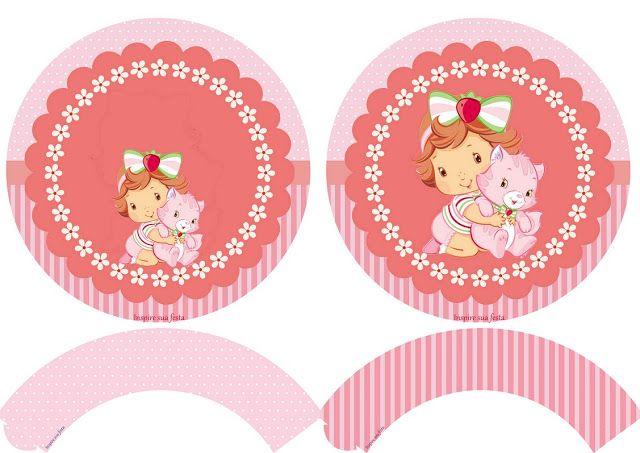 Fiesta de Strawberry Shortcake Bebé: Wrappers y Toppers para Cupcakes para Imprimir Gratis.