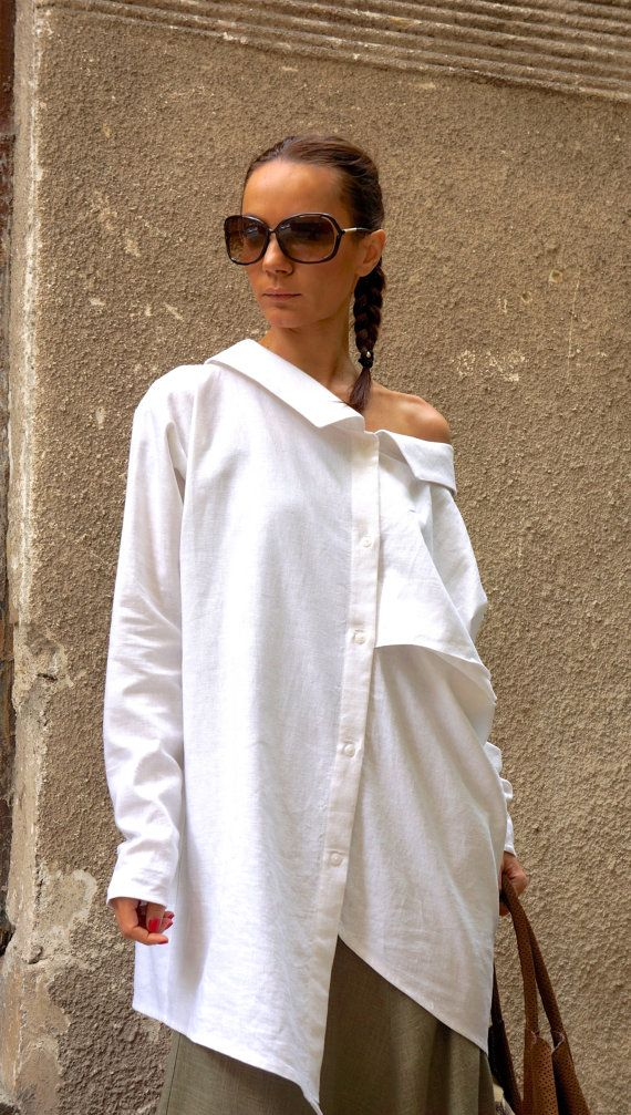 NEW COLLECTION White Linen Shirt / Extravagant Shirt / by Aakasha