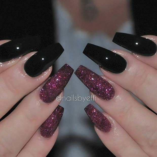 Black and Red Glitter Coffin Nails