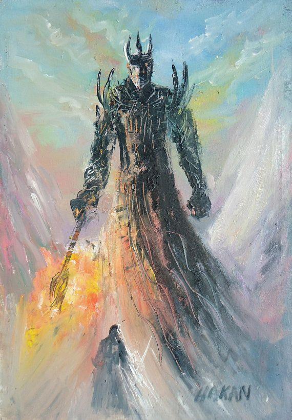 Morgoth Vs Fingolfin Silmarillion Tolkien Art Middle Earth Oil Painting On Canvas Melkor Lotr Related Art Elves Gifts For Morgoth Lotr Art Tolkien Art