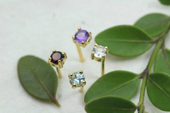 Launching Sale Genuine AAA Birthstone Studs Natural Round by Hesys