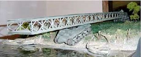 """Model of the Plymouth Bridge, a mobile """"bailey-bridge"""" constructed during the Italian Campaign to cross the Gari River. © The King's Own Calgary Regiment (RCAC) Museum."""