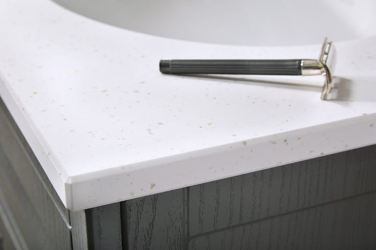Chamfered 20mm solid surface bathroom worktop edge detailing #downton #downtonclassical #bathroomfurniture #myutopia