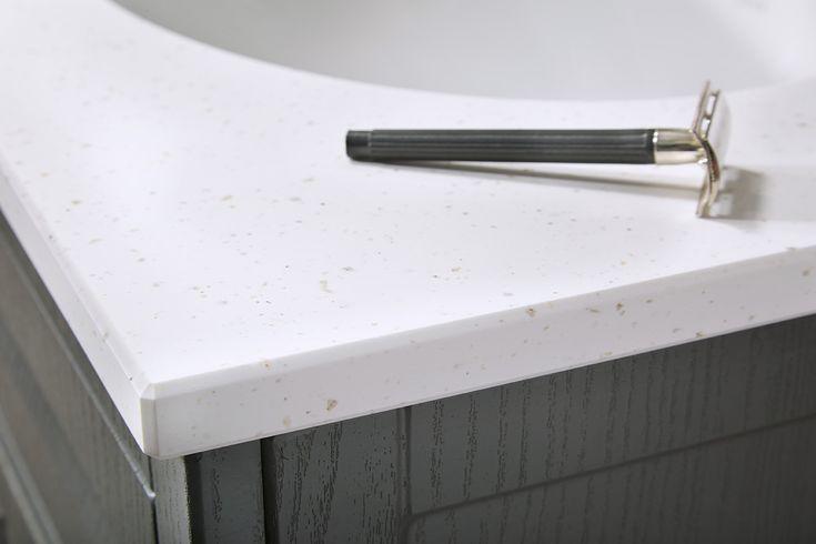 Chamfered 20mm solid surface bathroom worktop edge detailing #downton #downtonclassical #bathroomfurniture #myutopia