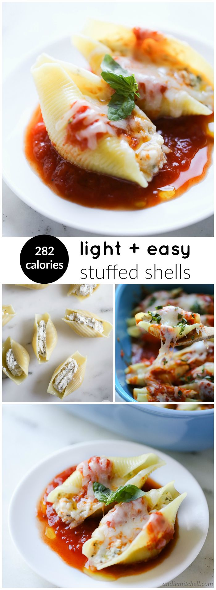Easy Stuffed Shells Recipe! 282 calories for 2 deliciously cheesy and rich shells! These have a secret ingredient that keeps them light, healthy, and creamy!
