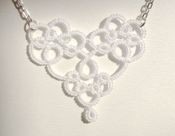 Hey, I found this really awesome Etsy listing at https://www.etsy.com/listing/176197891/white-heart-tatted-lace-pendant-necklace
