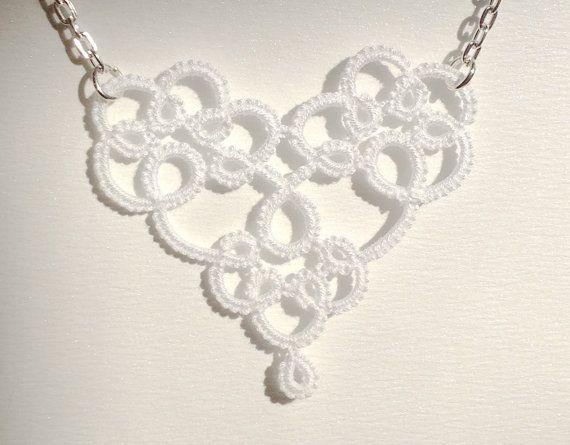 Corazón blanco encaje tatted collar de cadena por SILHUETTE