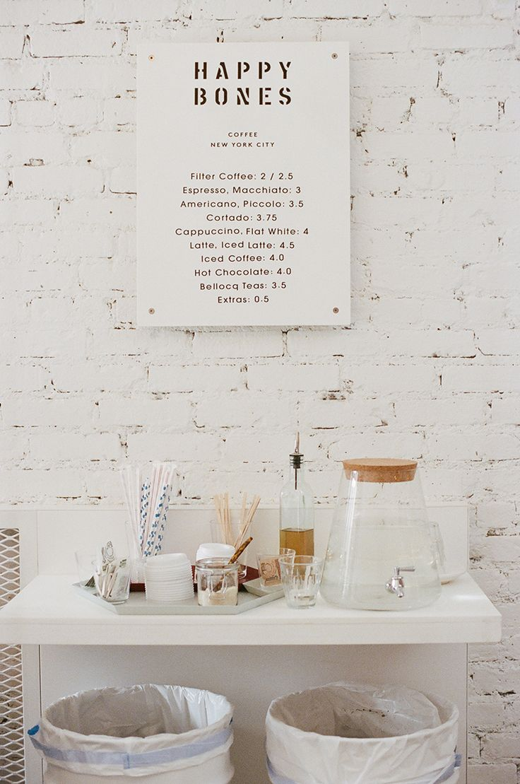 Happy Bones Coffee, NYC #menuboard #whiteinterior