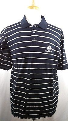 Pebble Beach Golf Course logo Mens Black white striped Polo shirt cotton large