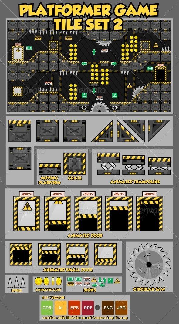 Platformer Game Tile Set 2 game assets vector