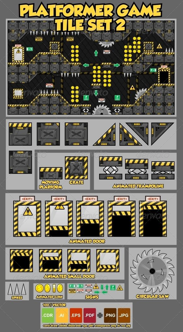 Platformer Game Tile Set 2 game assets vector