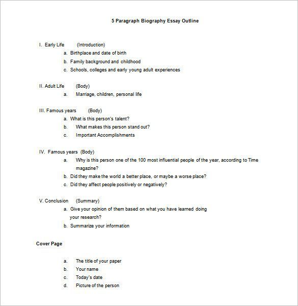 Biography Outline Template 10 Free Sample Example Format