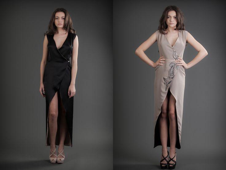 2 in 1 Dress - Black & Nude