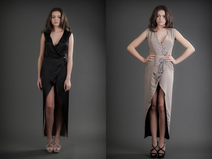 2 in 1 Dress - Black & Nude