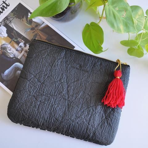 Pinatex vegan leather purse - small world dreams