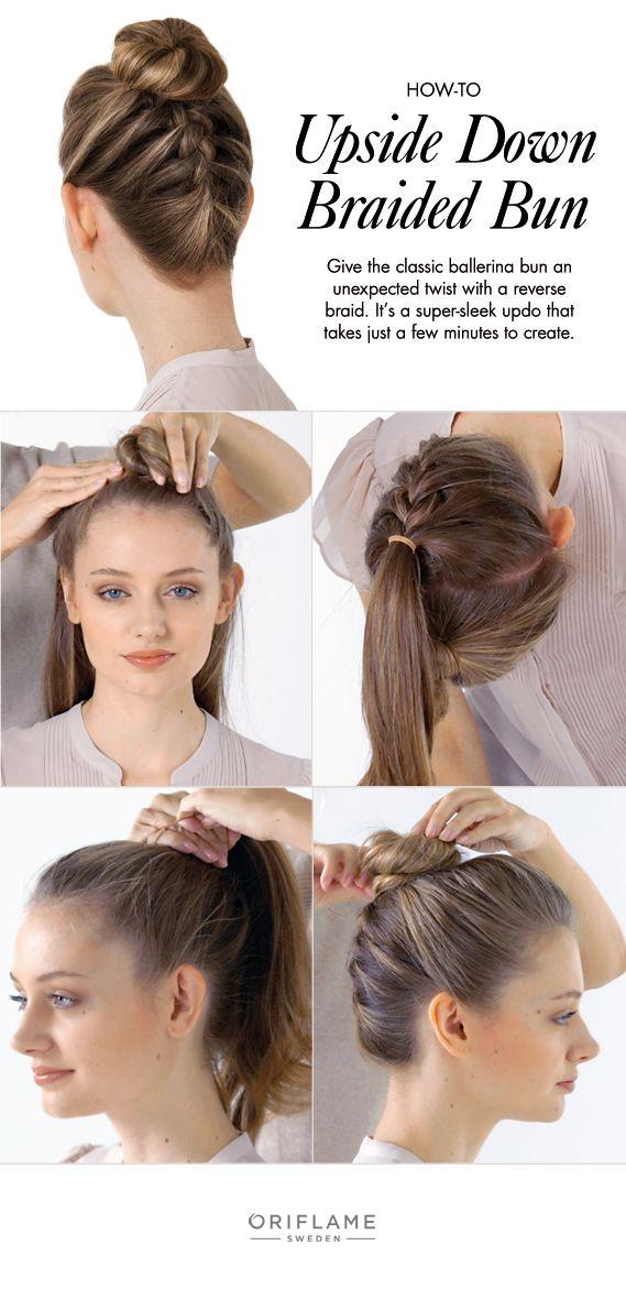 An upside down braid is a fun way of giving a twist to the classic ballerina bun.