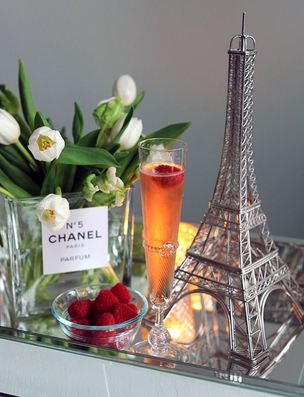 French Themed Cocktail Party, with printable Chanel No. 5 label for flower vase.