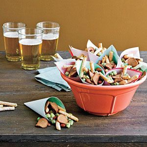 Easy Party Snack Mix ~ I really like the idea of serving individually..great for the sweet mix! :)