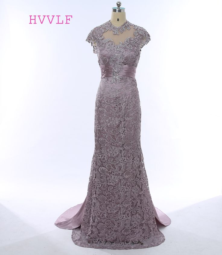 >> Click to Buy << 2017 Mother Of The Bride Dresses Mermaid Cap Sleeves Open Back Beaded Brown Lace Mother Dresses Evening Dresses For Weddings #Affiliate