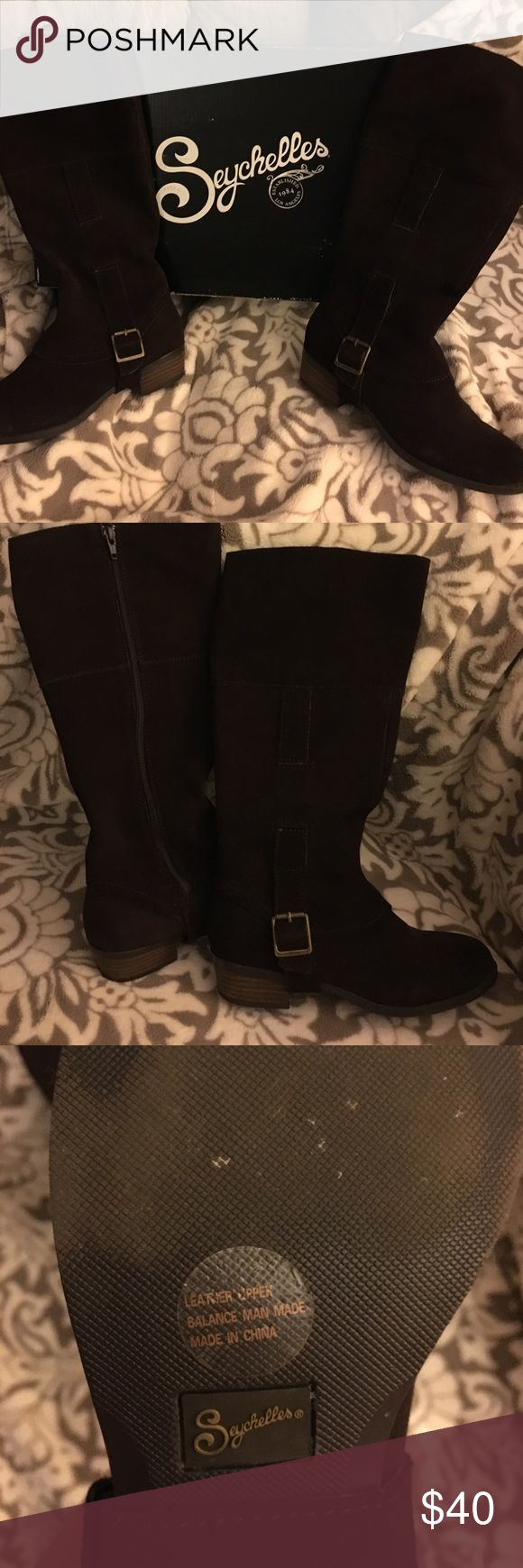 Seychelles brown suede boots NEVER WORN! Brown suede boots with a small heel and cute buckle. Seychelles Shoes Heeled Boots