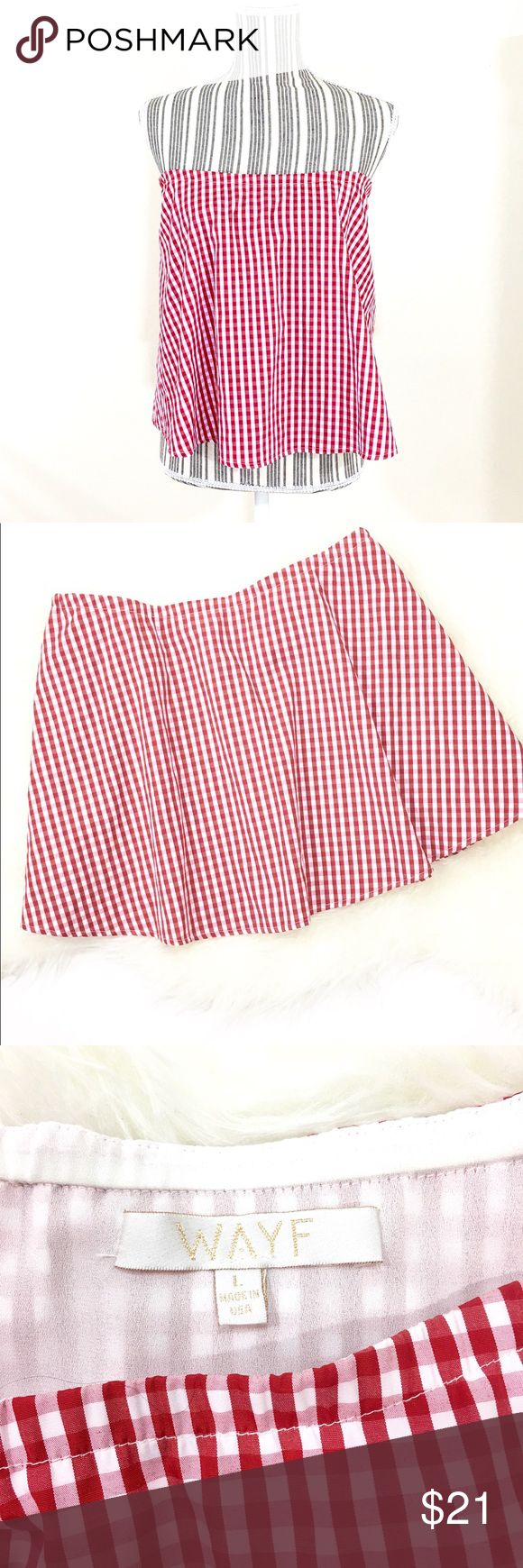 """👑WAYF Gingham Check Strapless Top Keep it simple with this super cute strapless top. Wear it under a denim jacket or pair it with your favorite white jeans or denim shorts. Stay crisp and cool no matter how high the temperature. 50% Polyester/50% Cotton shell. Fully lined in 50% Polyester. Length 15"""". Worn once in perfect condition. WAYF Tops"""