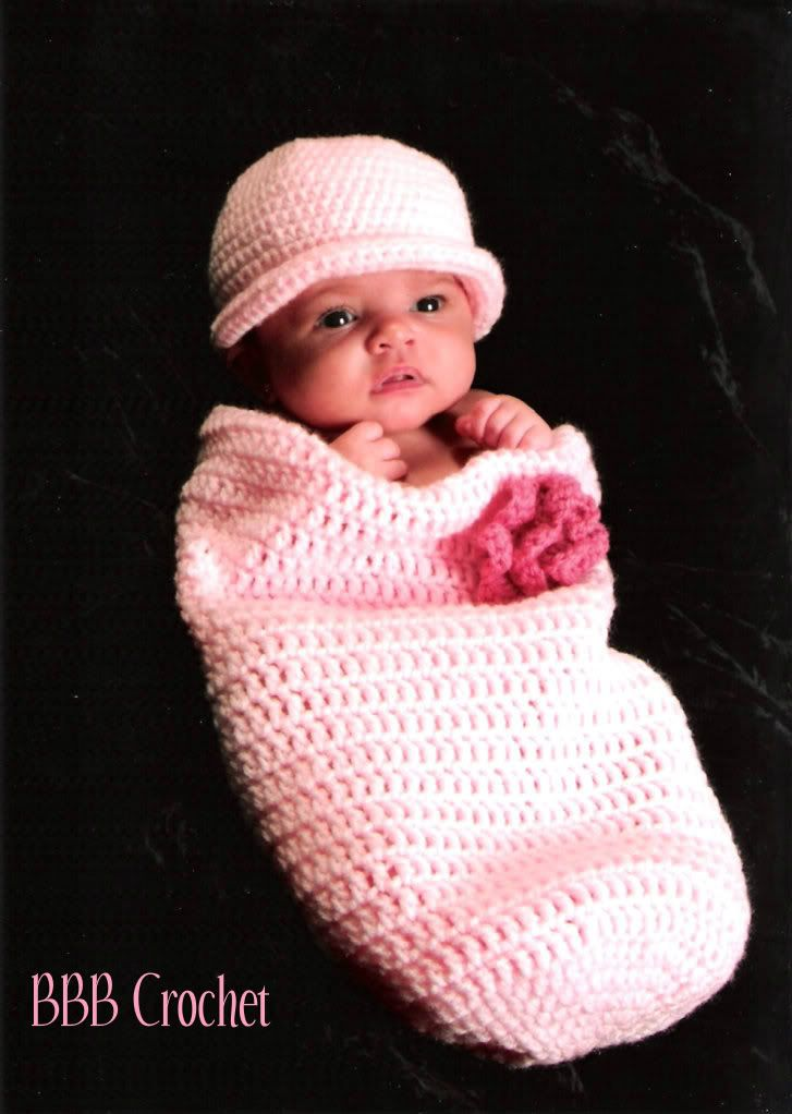 BBB Crochet Newborn Baby Cocoon Set with matching headband